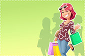 A red-haired, smiling young woman in front of a green background, wearing casual clothes, going shopping. She is carrying a couple of shopping bags and is waving to the camera.  Vector illustration with space for text.