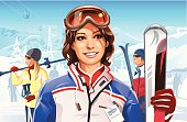 Illustration of a young smiling woman on a ski slope enjoying a relaxing day of great skiing. In the background are other skiers, a ropeway, a snowy mountainscape, and a bright blue sky. Fully editable and all labeled in layers. + Download includes a high resolution jpeg (6700x 4366 px)