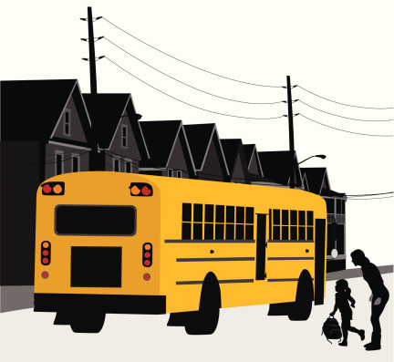 Going To School Vector Silhouette