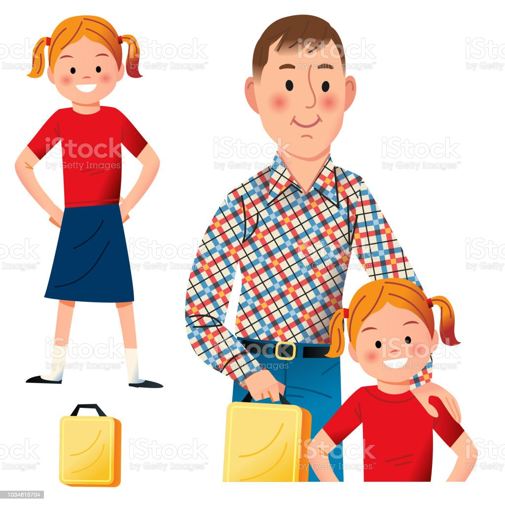 Going to School with Daddy vector art illustration