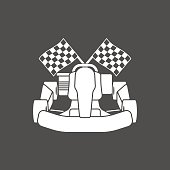 Go-kart and flag white silhouette