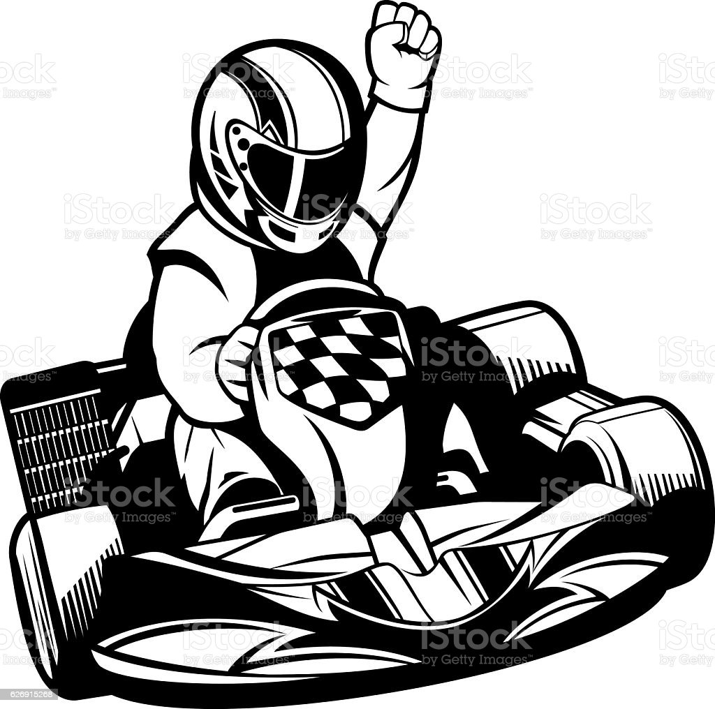Gokart Racing Bw Stock Vector Art & More Images of Activity ...