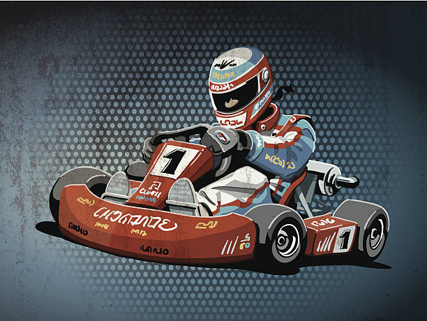 Go-Kart Racing Grunge Color Grunge vector artwork of a Go-Kart Racing Driver. The colors in the .eps-file are ready for print (CMYK). Transparencies used. All objects are on separate layers. Included files: EPS (v10) and Hi-Res JPG. motor sport stock illustrations