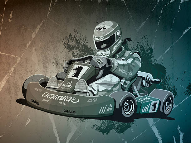 Go-Kart Racing Grunge Monochrome Digital grunge vector artwork of a Go-Kart Racing Driver. The colors in the .eps-file are ready for print (CMYK). Transparencies used. All objects are on separate layers. Included files: EPS (v10) and Hi-Res JPG. motor sport stock illustrations