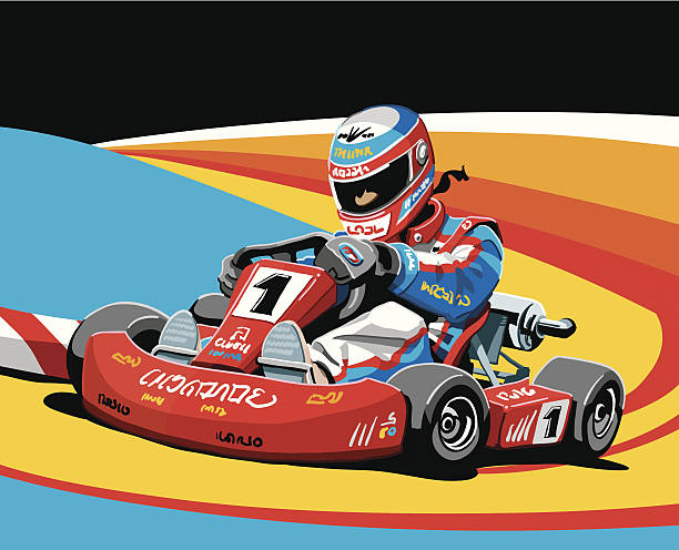 Go-Kart Racing Illustration of a fast go-kart driver. The background is on a separate layer, so you can use the illustration on your own background. The colors in the .eps and .ai-files are ready for print (CMYK). Included files: EPS (v8), AI (CS2) and Hi-Res JPG. motor sport stock illustrations
