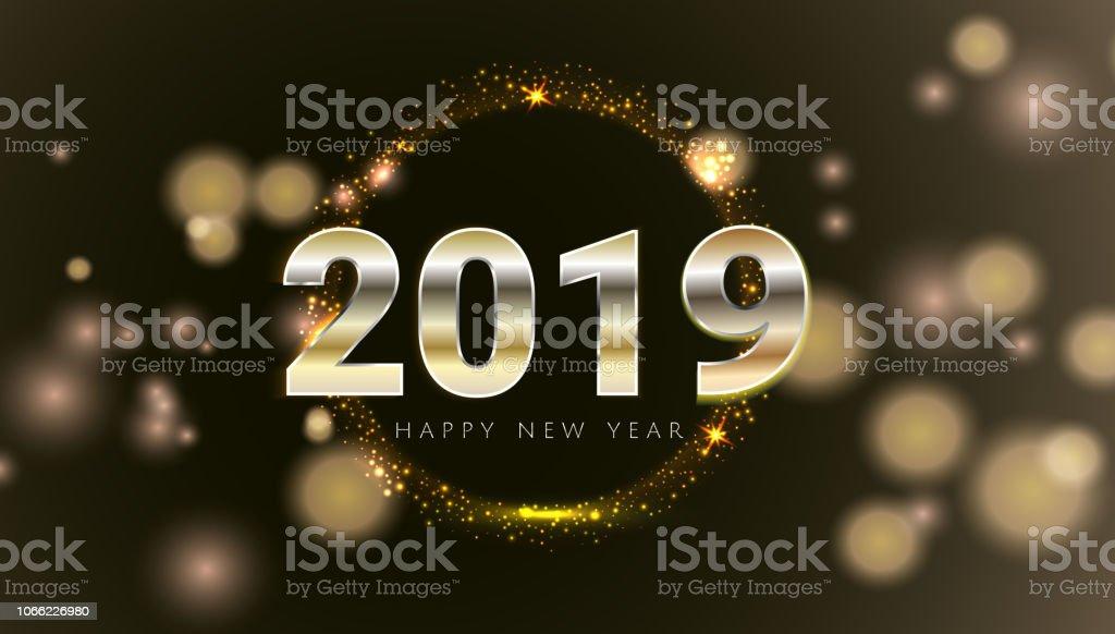 Ilustración De Tarjeta Oro 2019 Feliz Año Nuevo Con Fondo De