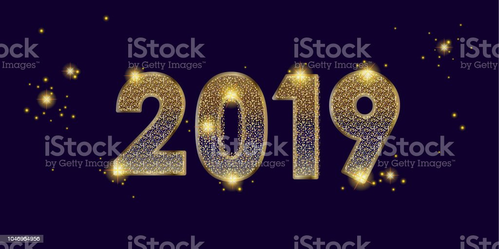 gold 2019 happy new year festive banner carnival event wallpaper