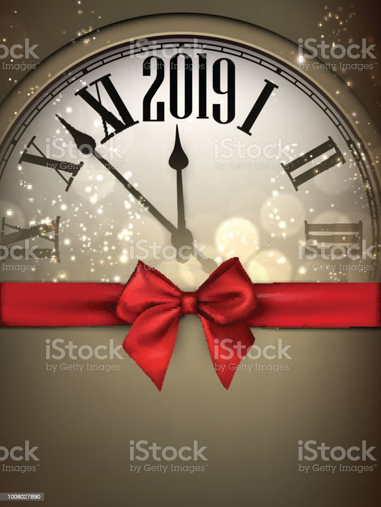 gold 2019 new year background with clock and red ribbon royalty free gold 2019