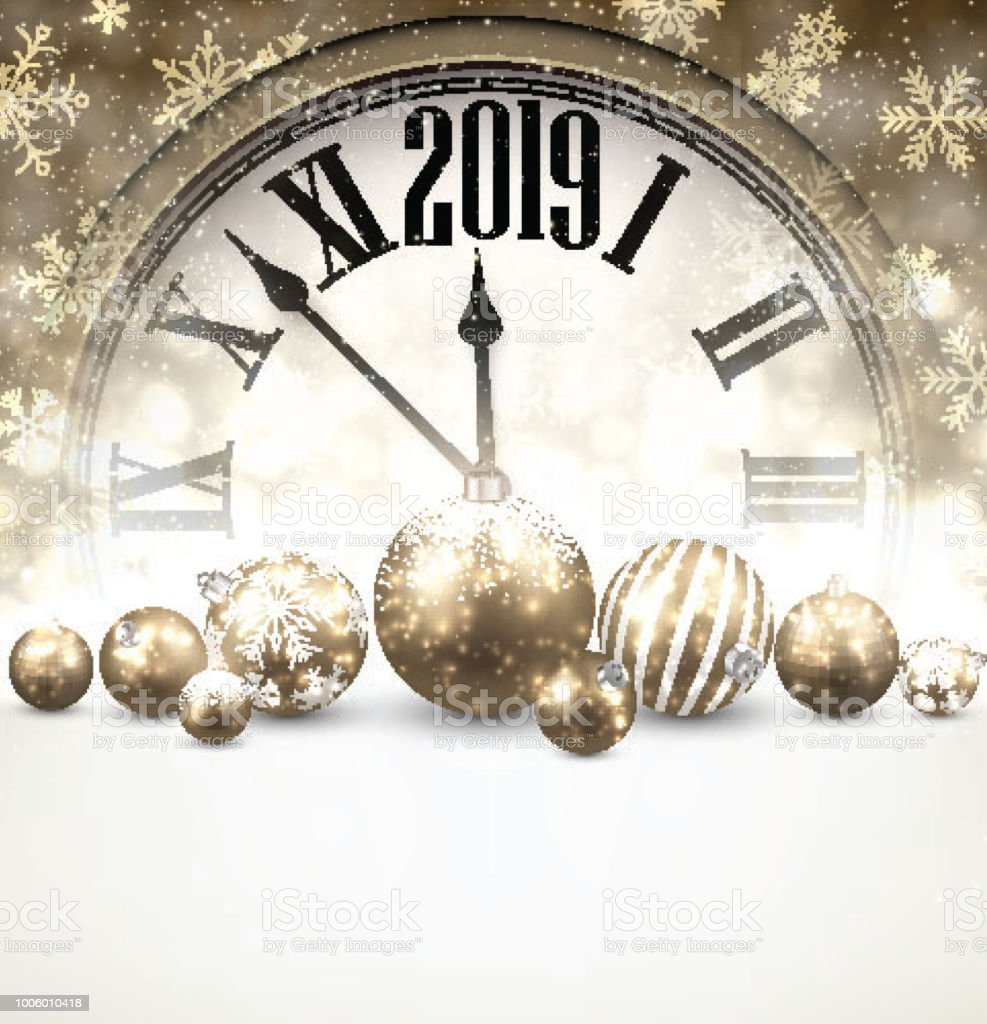 gold 2019 new year background with clock royalty free gold 2019 new year background