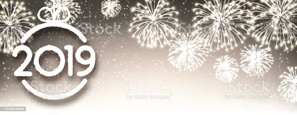 gold 2019 new year banner with christmas ball and fireworks royalty free gold 2019