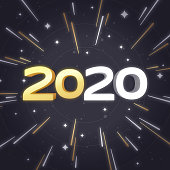 Happy new year 2020 star glow and space warp background.