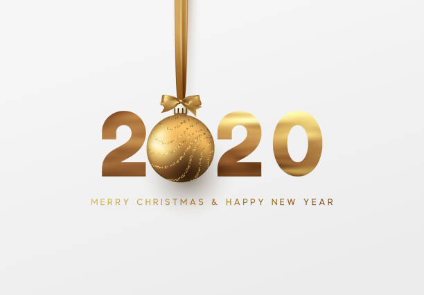 gold 2020 vector happy new year and merry christmas greeting card - new years day stock illustrations