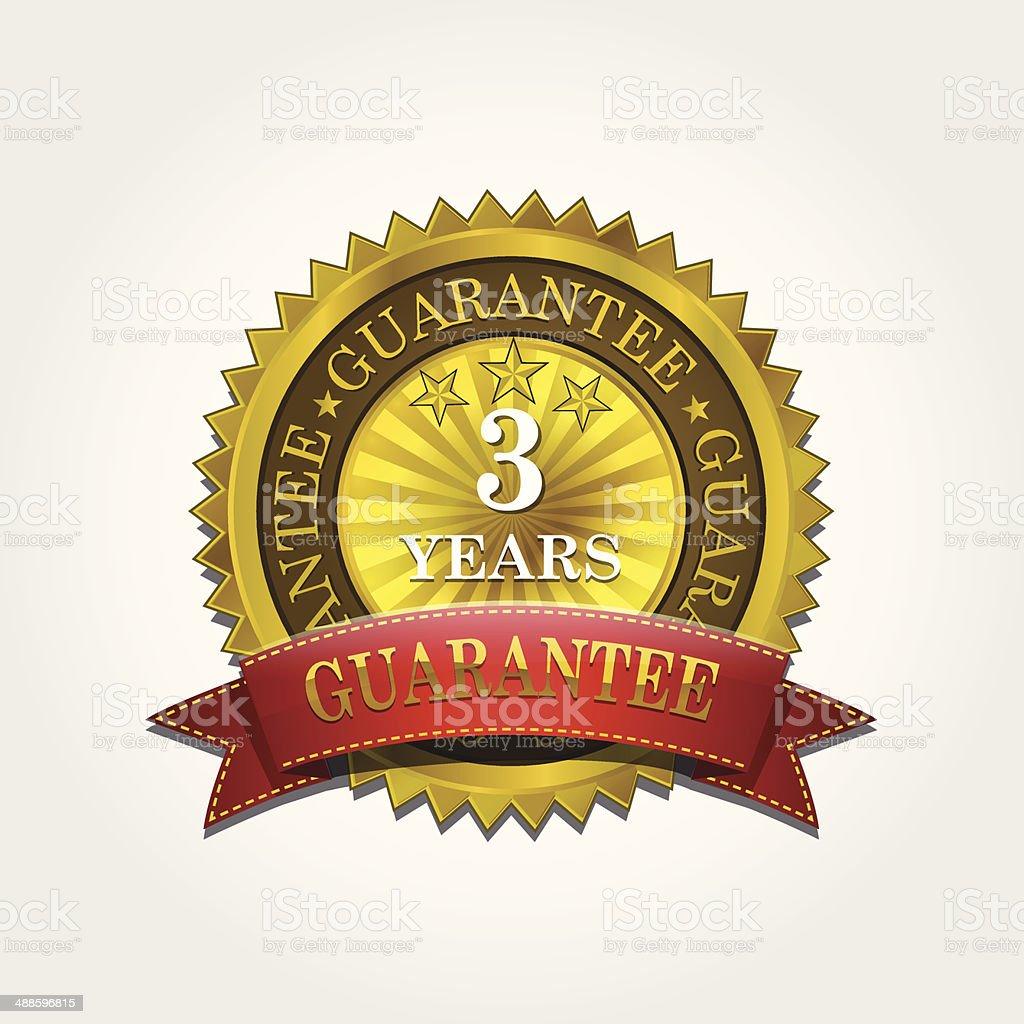 Gold 3 years Guarantee Seal royalty-free stock vector art