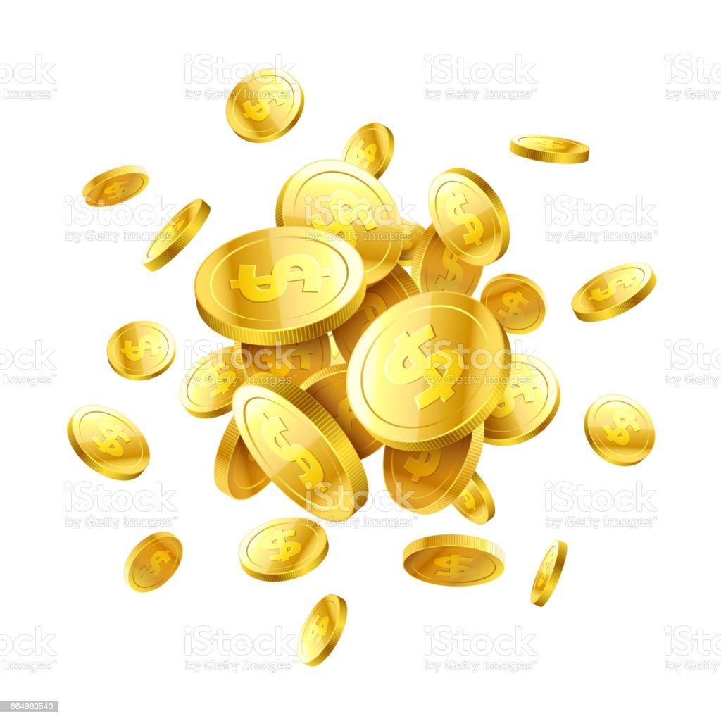 Gold 3d coins vector art illustration