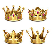 Gold 3d crown vector set. Royal monarchy and kings attributes