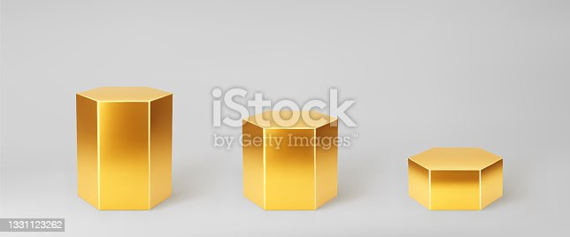 istock Gold 3d hexagon podium set with perspective isolated on grey background. Product podium mockup in hexagon shape, pillar, empty museum stages or pedestal. 3d basic geometric shape vector illustration 1331123262