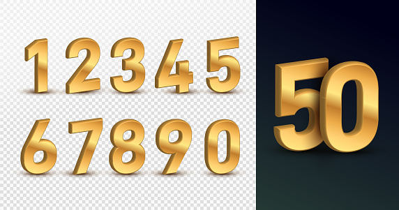 Gold 3d numbers. Design for birthdays and holidays, web, poster, card. Symbol vector illustration. Isolated on a transparent background.