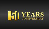 Gold 50 Years anniversary celebration template design isolated in a dark background