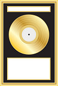 33.3 RPM Long playing record. Gold Album Award.  Room for titles, names and photos of the successful artist.  Logical layers and groupings.