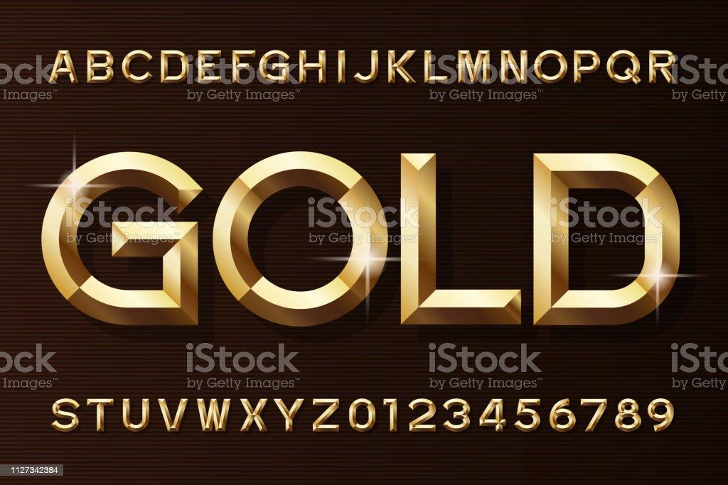 ゴールドのアルファベットのフォントです。3 d ベベル金効果の文字と数字。 ロイヤリティフリーゴールドのアルファベットのフォントです3 d ベベル金効果の文字と数字 - 3dのベクターアート素材や画像を多数ご用意