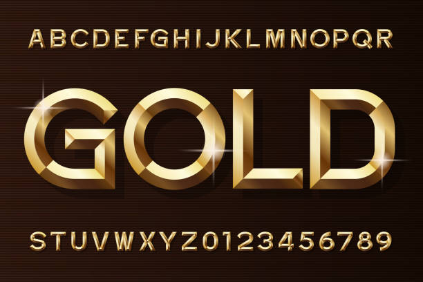 gold alphabet font. 3d beveled gold effect letters and numbers. - золотой stock illustrations