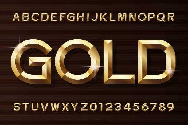 stockillustraties, clipart, cartoons en iconen met gouden alfabet lettertype. 3d-schuine goud effect letters en cijfers. - goud metaal