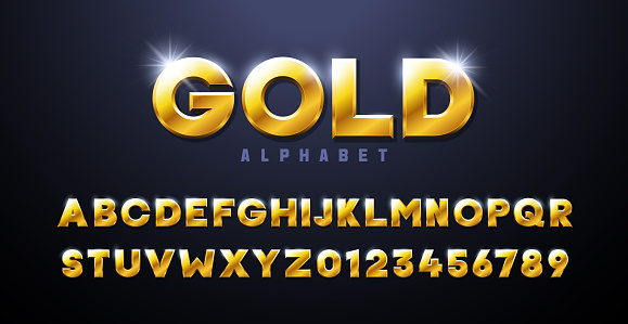 Gold Alphabet. Golden font 3d effect typography elements based on casinos, games, award and winning related subjects. Mettalic luxury and premium three dimensional typeface