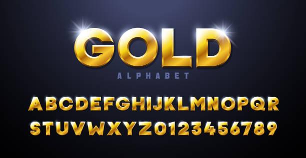 ilustraciones, imágenes clip art, dibujos animados e iconos de stock de alfabeto dorado. fuente dorada 3d efecto sólación elementos tipográficos basados en casinos, juegos, premios y temas relacionados ganadores. lujo mettalic y tipografía tridimensional premium - font
