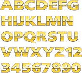 A collection of vector gold lettering.  These letters can be scaled to any size without distortion or loss of quality.