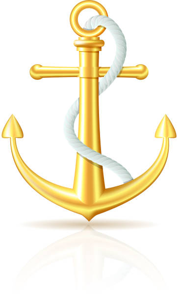 Gold Anchor With Rope On White Background Vector Art Illustration