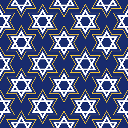 Gold And And White Star Of David Seamless Pattern