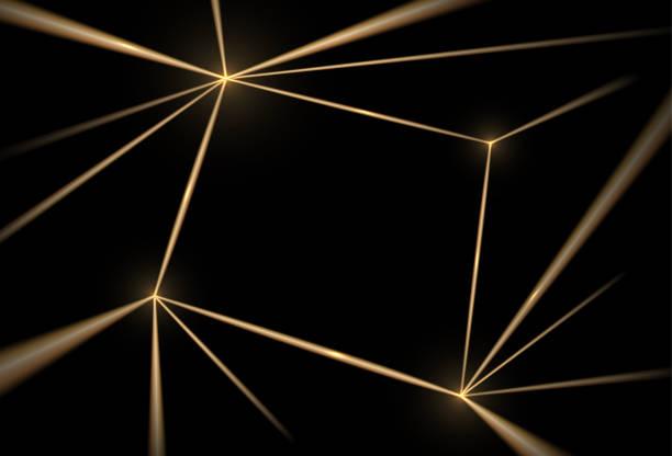 Gold and black background. Luxury texture geometric line pattern. Futuristic light network, graphic golden grid. Vector illustration vector art illustration