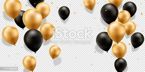 istock Gold and Black Balloons 1147298283