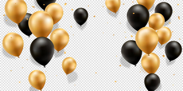 stockillustraties, clipart, cartoons en iconen met goud en zwarte ballonnen - ballon
