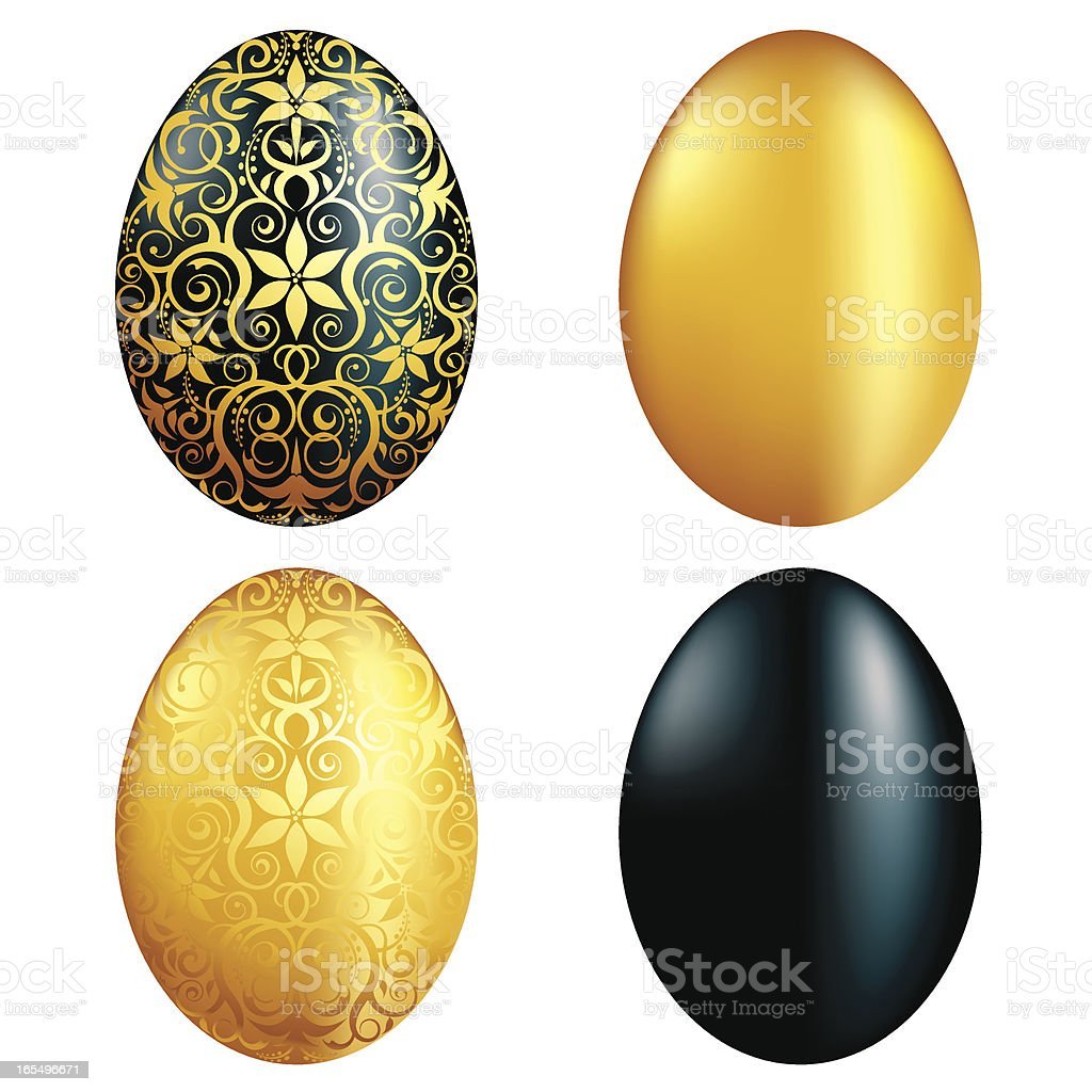 Gold and Black Eggs royalty-free stock vector art