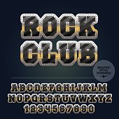 Vector set of alphabet letters, numbers and punctuation symbols. Silver, golden and black striped logo with text Rock club