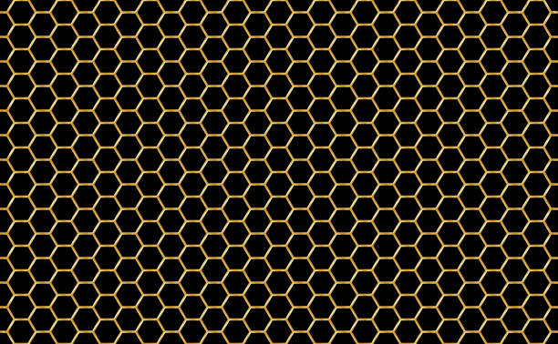 Gold and black honey hexagonal cells seamless texture. Mosaic or speaker fabric shape pattern. Golden honeyed comb grid texture and geometric hive hexagonal honeycombs. Vector illustration vector art illustration