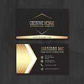 Gold and black horizontal business card template. Design for personal or business use with front and back side. Vector illustration.