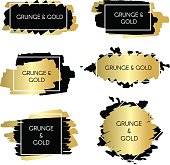 Gold and black ink paint grunge design elements, boxes and frames for text.