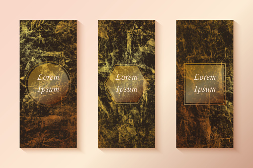 Gold and Black Marbled Effect Collection of Luxury Card Templates. Hand drawn vector golden foil background template for cards, invitations, posters, business cards and flyers.