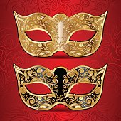 gold and black masks for masquerade