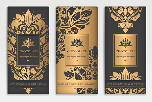 Gold and black packaging design of chocolate bars. Vintage vector ornament template. Elegant, classic elements. Great for food, drink and other package types. Can be used for background and wallpaper.