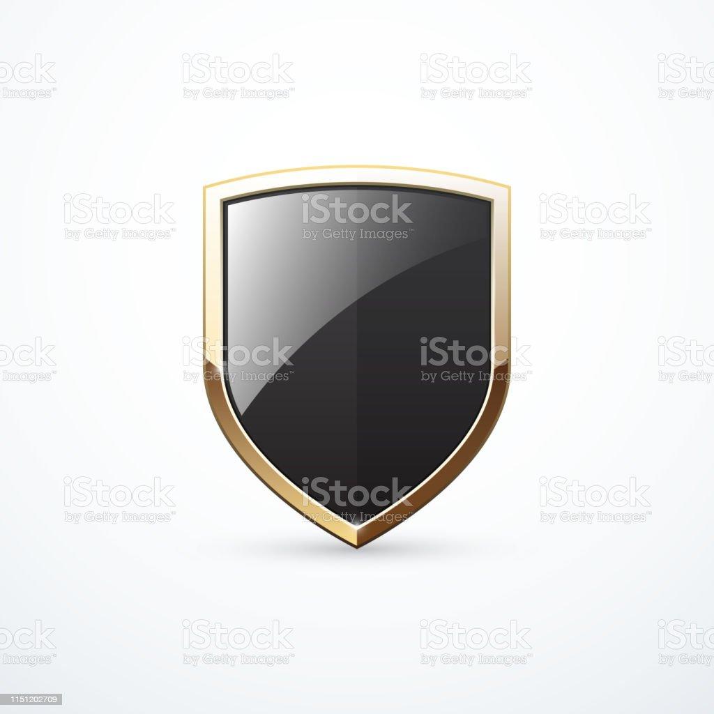 Gold-und Schwarzes Schild. Vektorabbildung - Lizenzfrei Berühmte Persönlichkeit Vektorgrafik