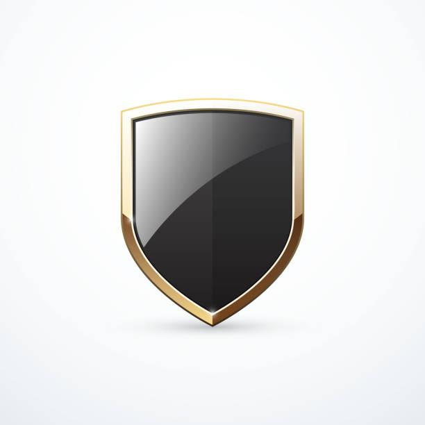 Gold and black shield icon. Vector illustration Gold and black shield icon. Vector illustration eps 10 shield stock illustrations