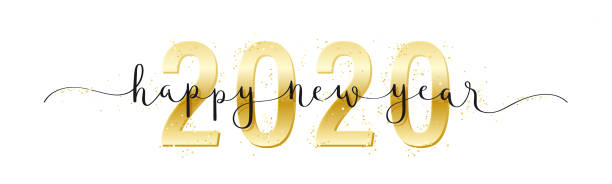happy new year 2020 gold and black vector brush calligraphy banner - happy new year stock illustrations