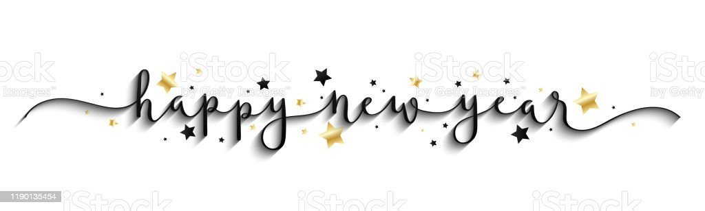 HAPPY NEW YEAR 2020 gold and black vector brush calligraphy banner - Royalty-free 2020 arte vetorial