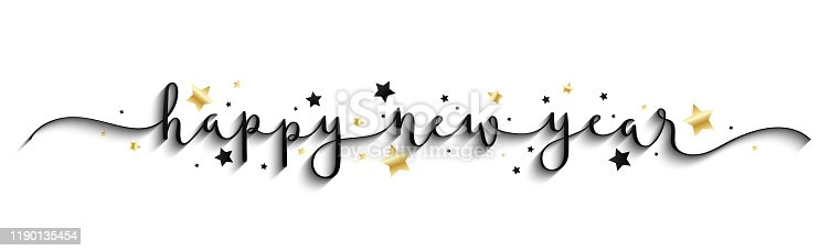 HAPPY NEW YEAR 2020 gold and black vector brush calligraphy banner with swashes