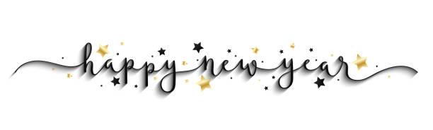 ilustrações de stock, clip art, desenhos animados e ícones de happy new year 2020 gold and black vector brush calligraphy banner - happy new year
