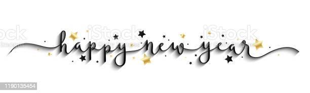Happy New Year 2020 Gold And Black Vector Brush Calligraphy Banner - Arte vetorial de stock e mais imagens de 2020