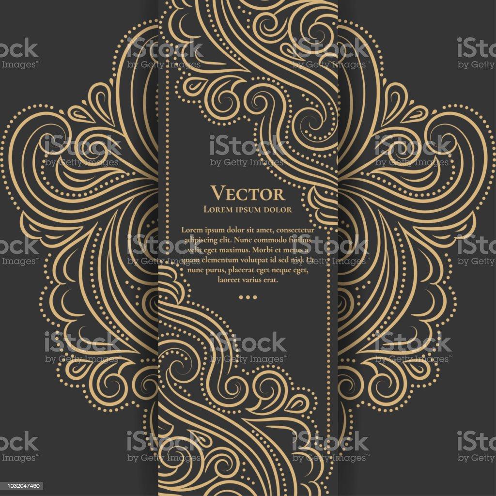 黃金和黑色葡萄酒邀請卡。對傳單, 功能表, 摺頁冊很有好處。豪華飾品。 - 免版稅伊斯蘭教圖庫向量圖形